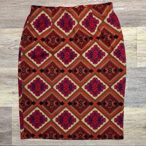 Brocade Mix Pattern Stretch Pencil Skirt